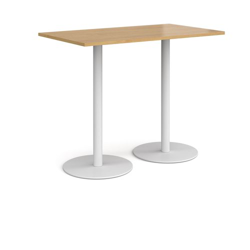 Monza rectangular poseur table with flat round white bases 1400mm x 800mm - oak