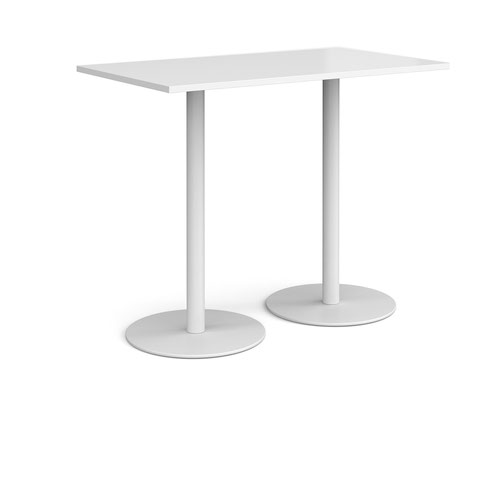 Monza rectangular poseur table with flat round white bases 1400mm x 800mm - white