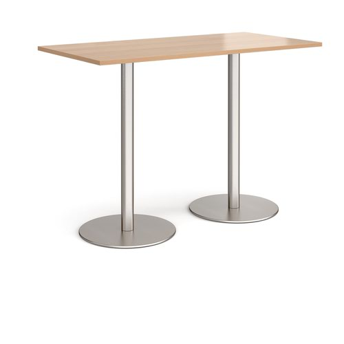 Monza rectangular poseur table with flat round brushed steel bases 1600mm x 800mm - beech