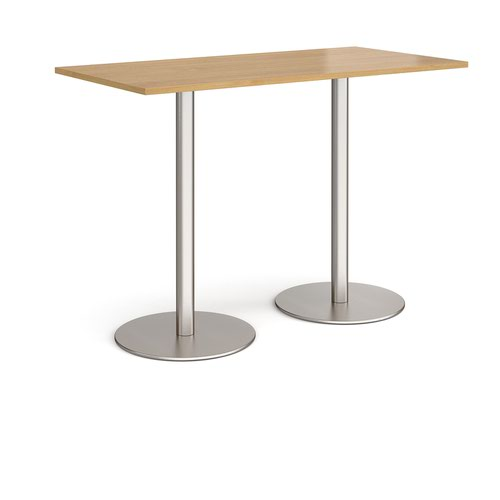 Monza rectangular poseur table with flat round brushed steel bases 1600mm x 800mm - oak