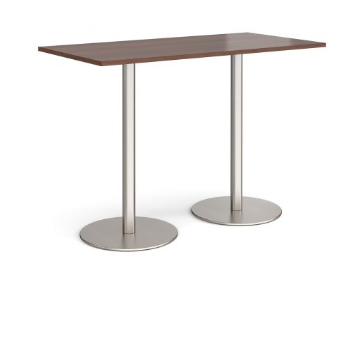 Monza rectangular poseur table with flat round brushed steel bases 1600mm x 800mm - walnut