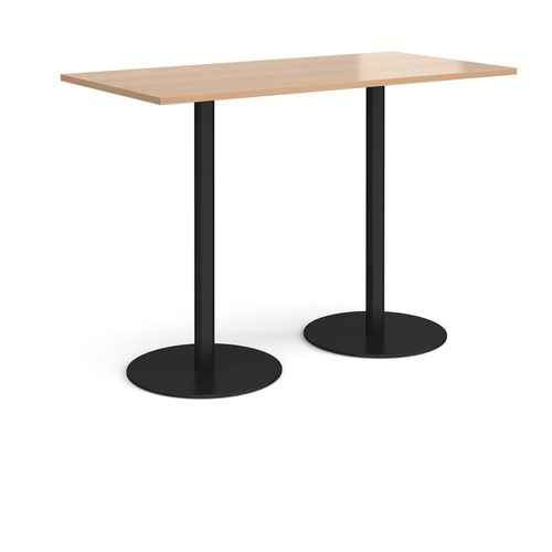 Monza rectangular poseur table with flat round black bases 1600mm x 800mm - beech