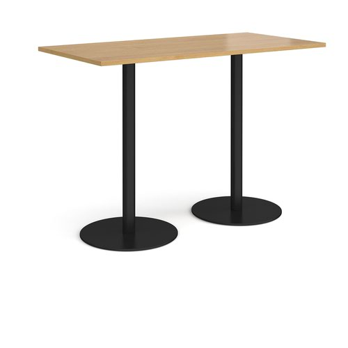 Monza rectangular poseur table with flat round black bases 1600mm x 800mm - oak