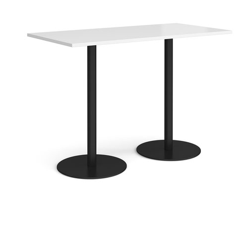 Monza rectangular poseur table with flat round black bases 1600mm x 800mm - white