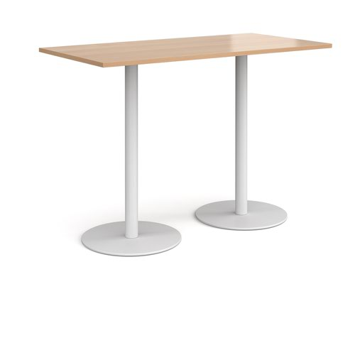 Monza rectangular poseur table with flat round white bases 1600mm x 800mm - beech
