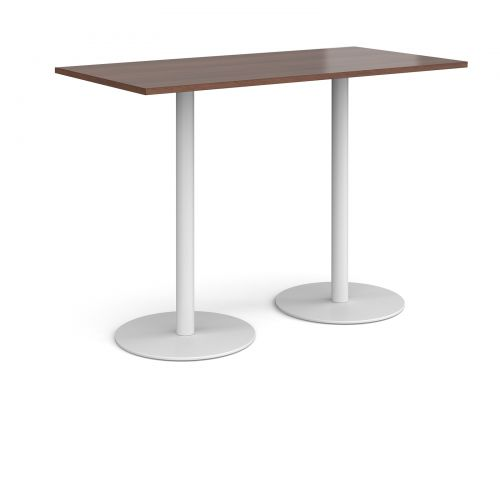 Monza rectangular poseur table with flat round white bases 1600mm x 800mm - walnut