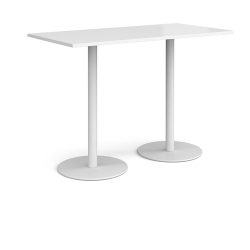 Monza rectangular poseur table with flat round white bases 1600mm x 800mm - white