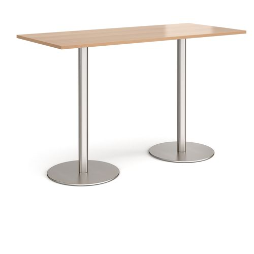 Monza rectangular poseur table with flat round brushed steel bases 1800mm x 800mm - beech
