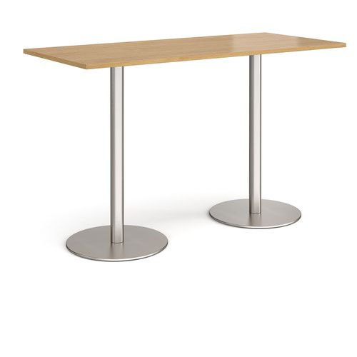 Monza rectangular poseur table with flat round brushed steel bases 1800mm x 800mm - oak