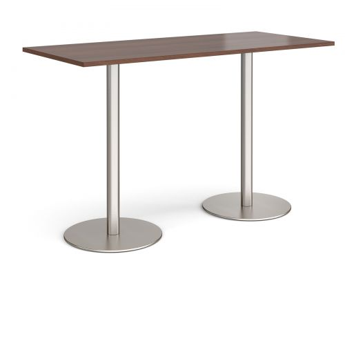 Monza rectangular poseur table with flat round brushed steel bases 1800mm x 800mm - walnut