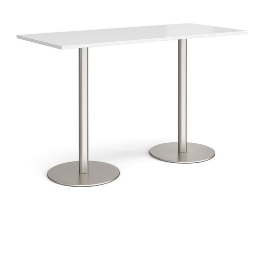 Monza rectangular poseur table with flat round brushed steel bases 1800mm x 800mm - white