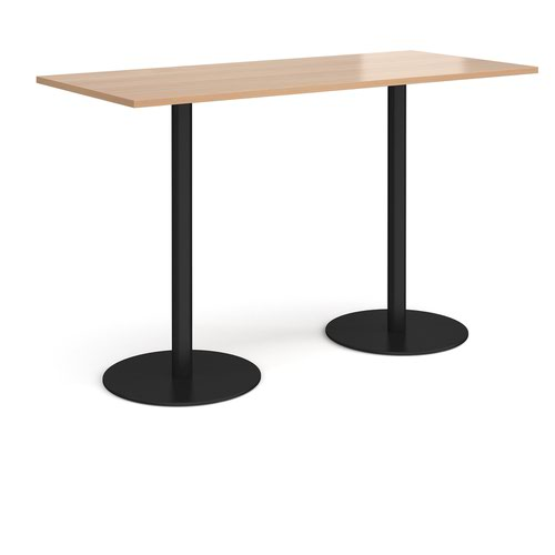 Monza rectangular poseur table with flat round black bases 1800mm x 800mm - beech