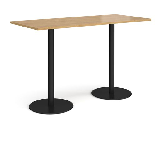 Monza rectangular poseur table with flat round black bases 1800mm x 800mm - oak