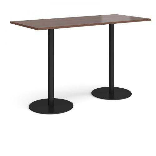 Monza rectangular poseur table with flat round black bases 1800mm x 800mm - walnut
