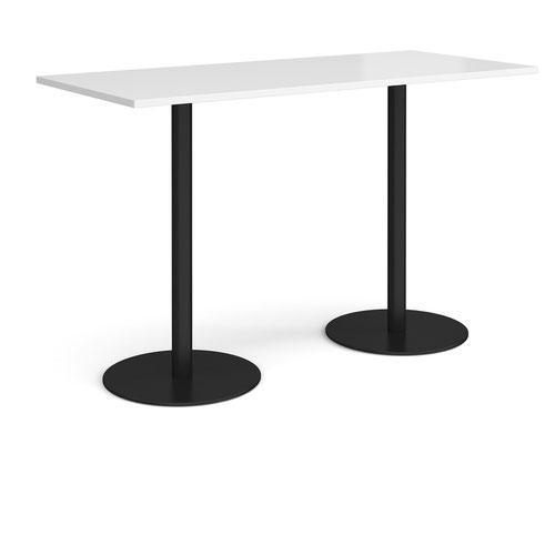 Monza rectangular poseur table with flat round black bases 1800mm x 800mm - white