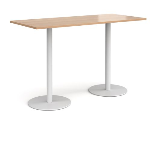 Monza rectangular poseur table with flat round white bases 1800mm x 800mm - beech