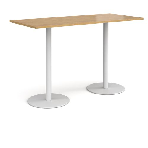 Monza rectangular poseur table with flat round white bases 1800mm x 800mm - oak