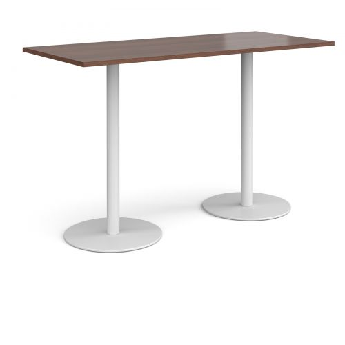 Monza rectangular poseur table with flat round white bases 1800mm x 800mm - walnut