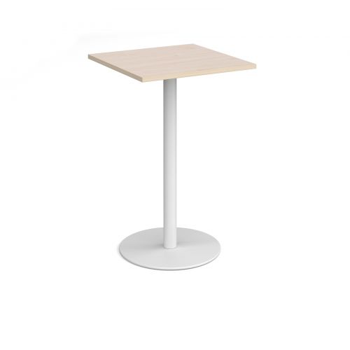 Monza square poseur table with flat round white base 700mm - maple