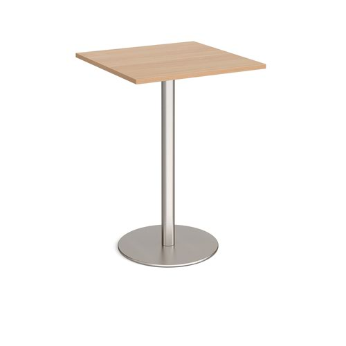 Monza square poseur table with flat round brushed steel base 800mm - beech
