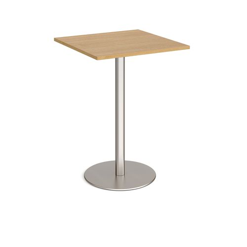 Monza square poseur table with flat round brushed steel base 800mm - oak