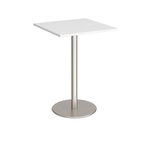 Monza square poseur table with flat round brushed steel base 800mm - white