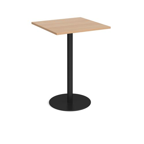 Monza square poseur table with flat round black base 800mm - beech