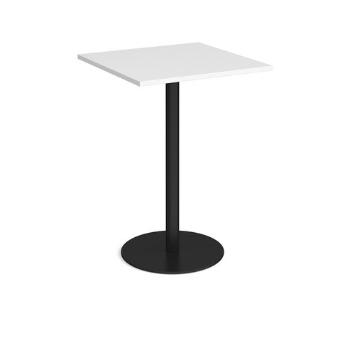 Monza square poseur table with flat round black base 800mm - white