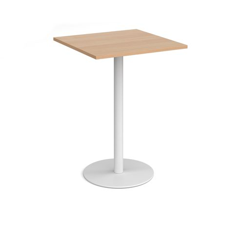 Monza square poseur table with flat round white base 800mm - beech