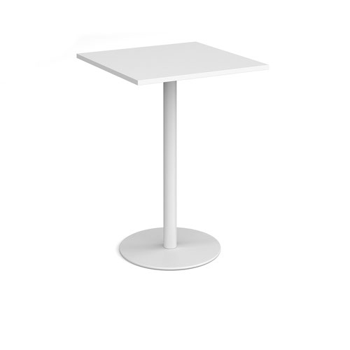 Monza square poseur table with flat round white base 800mm - white