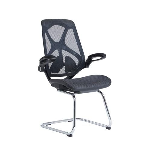 Napier high mesh back visitors chair with mesh seat - black
