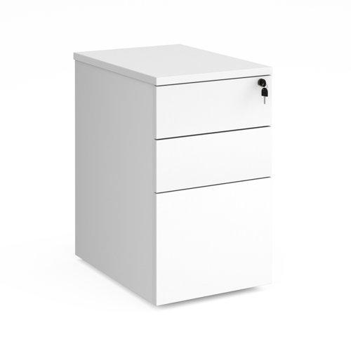 Deluxe desk high 3 drawer pedestal 600mm deep - white