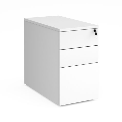 Deluxe desk high 3 drawer pedestal 800mm deep - white