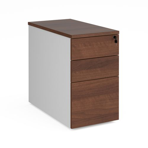 Duo desk high 3 drawer pedestal 800mm deep - white with walnut drawers