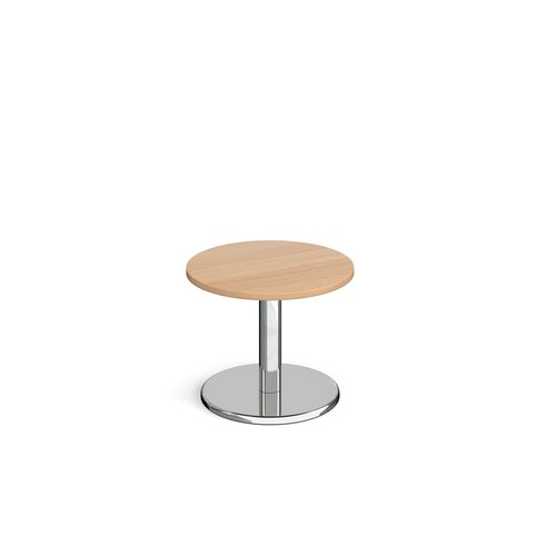 Pisa circular coffee table with round chrome base 600mm - beech