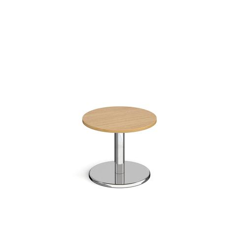 Pisa circular coffee table with round chrome base 600mm - oak