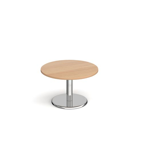 Pisa circular coffee table with round chrome base 800mm - beech