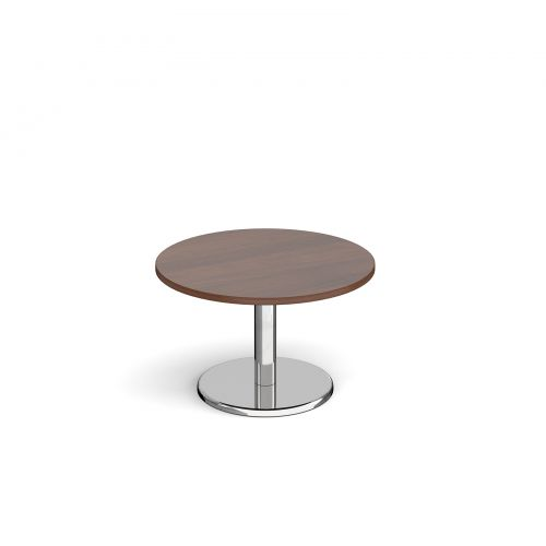 Pisa circular coffee table with round chrome base 800mm - walnut