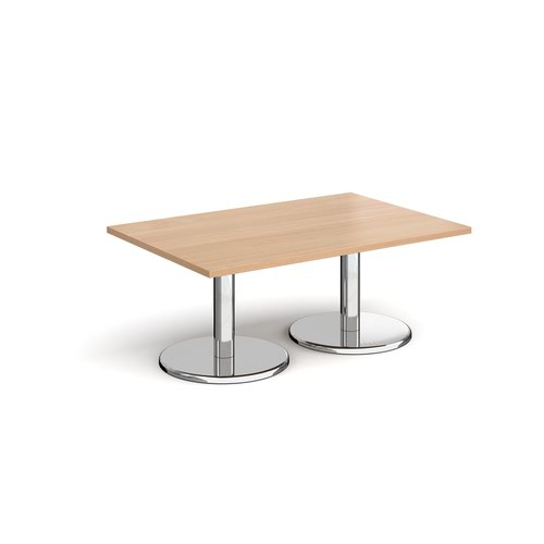 Pisa rectangular coffee table with round chrome bases 1200mm x 800mm - beech