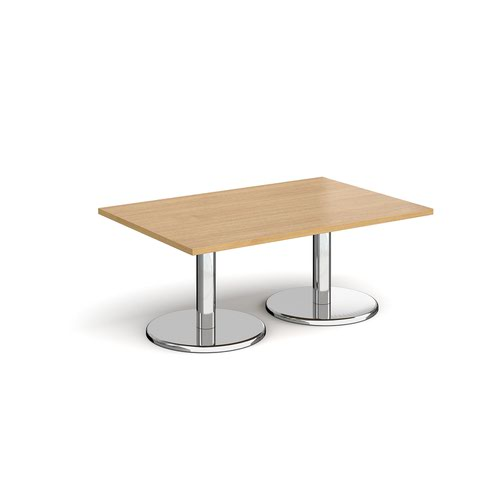 Pisa rectangular coffee table with round chrome bases 1200mm x 800mm - oak