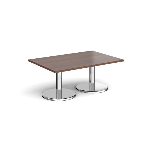 Pisa rectangular coffee table with round chrome bases 1200mm x 800mm - walnut