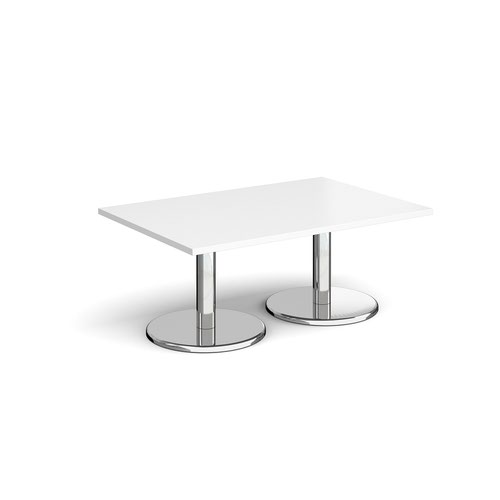 Pisa rectangular coffee table with round chrome bases 1200mm x 800mm - white