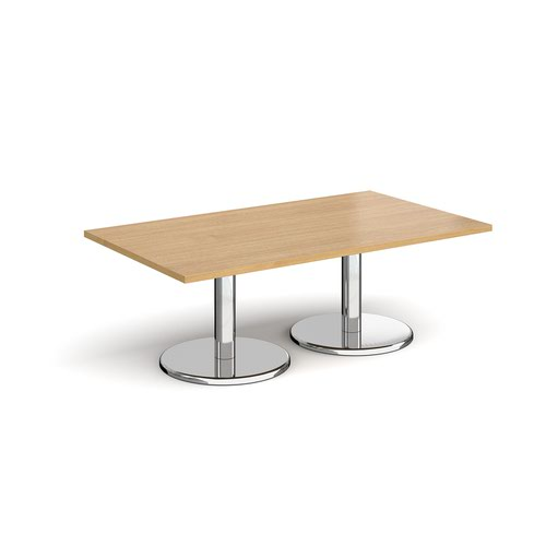 Pisa rectangular coffee table with round chrome bases 1400mm x 800mm - oak