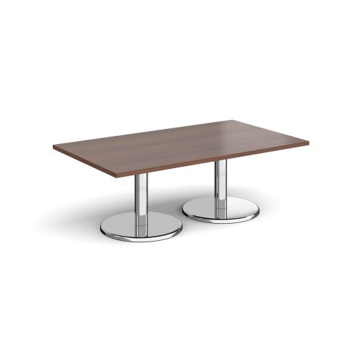 Pisa rectangular coffee table with round chrome bases 1400mm x 800mm - walnut