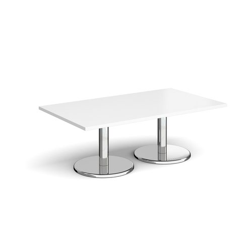 Pisa rectangular coffee table with round chrome bases 1400mm x 800mm - white