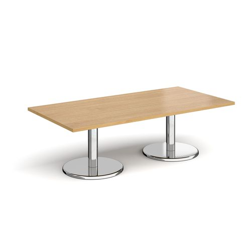 Pisa rectangular coffee table with round chrome bases 1600mm x 800mm - oak