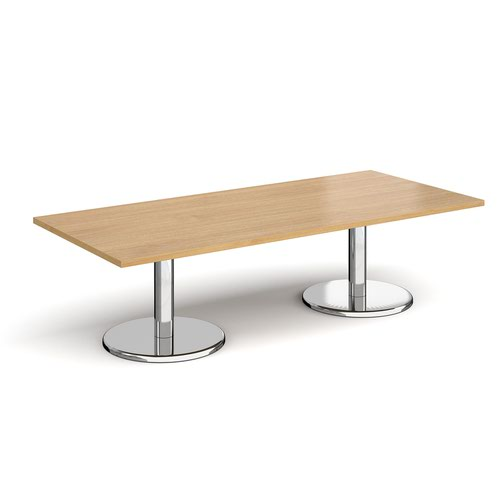 Pisa rectangular coffee table with round chrome bases 1800mm x 800mm - oak