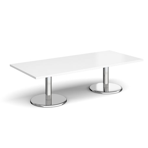 Pisa rectangular coffee table with round chrome bases 1800mm x 800mm - white