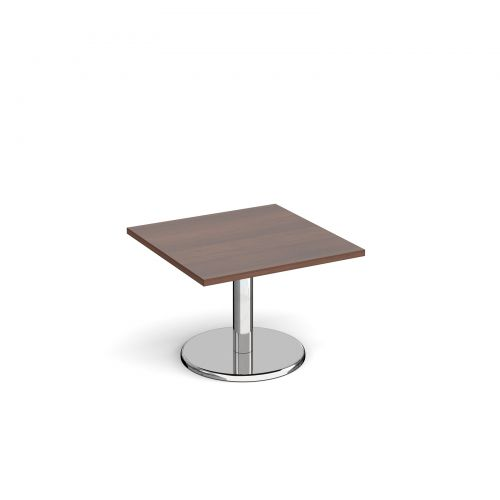 Pisa square coffee table with round chrome base 700mm - walnut