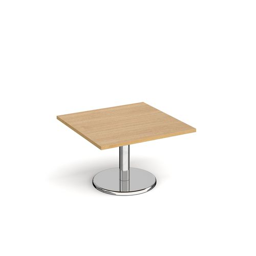 Pisa square coffee table with round chrome base 800mm - oak